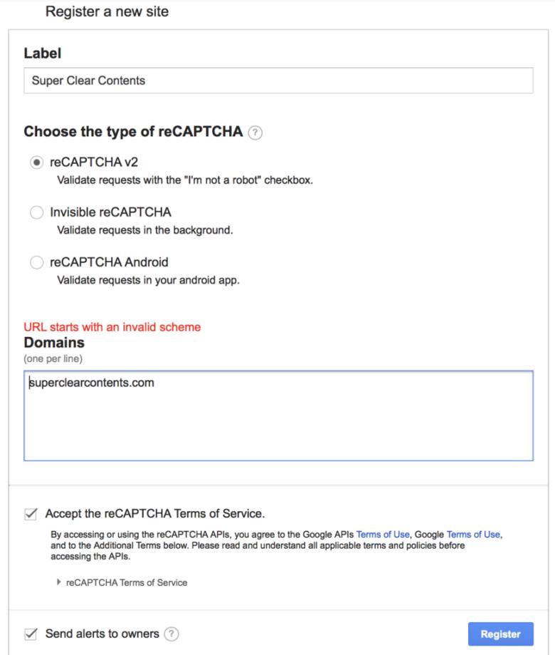 お問い合わせフォームへのreCAPTCHA導入方法:必要事項入力画面