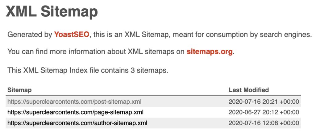 Yoast SEOが作成したXMLサイトマップ