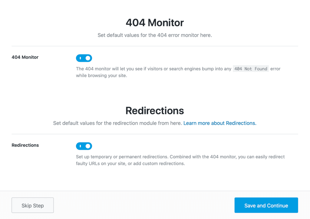 Rank Math  404 monitor / Redirections