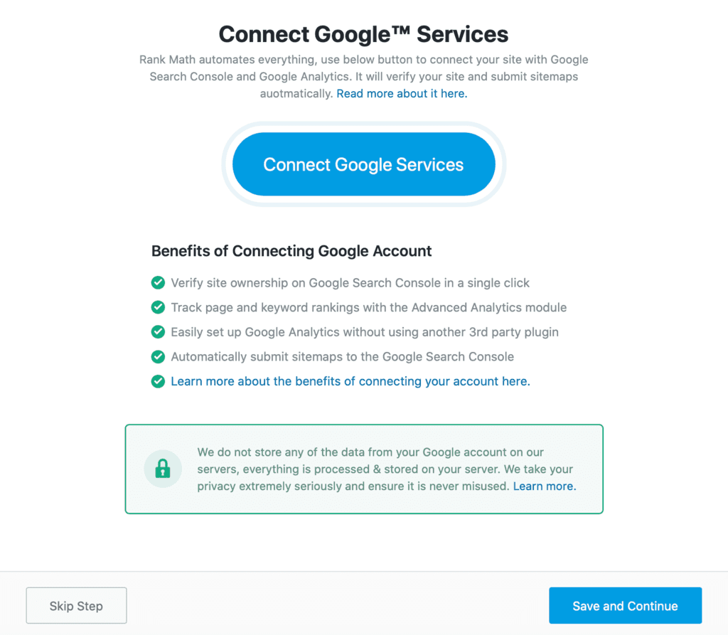 Rank Math Connect Google Service