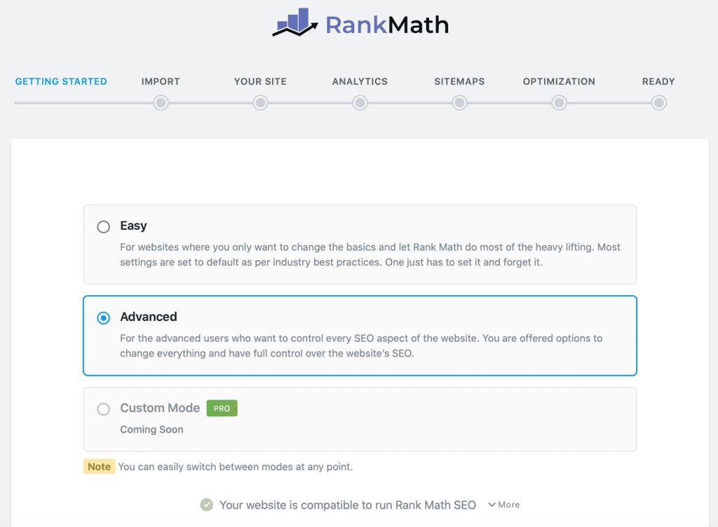 Rank Mathの使用モード設定
