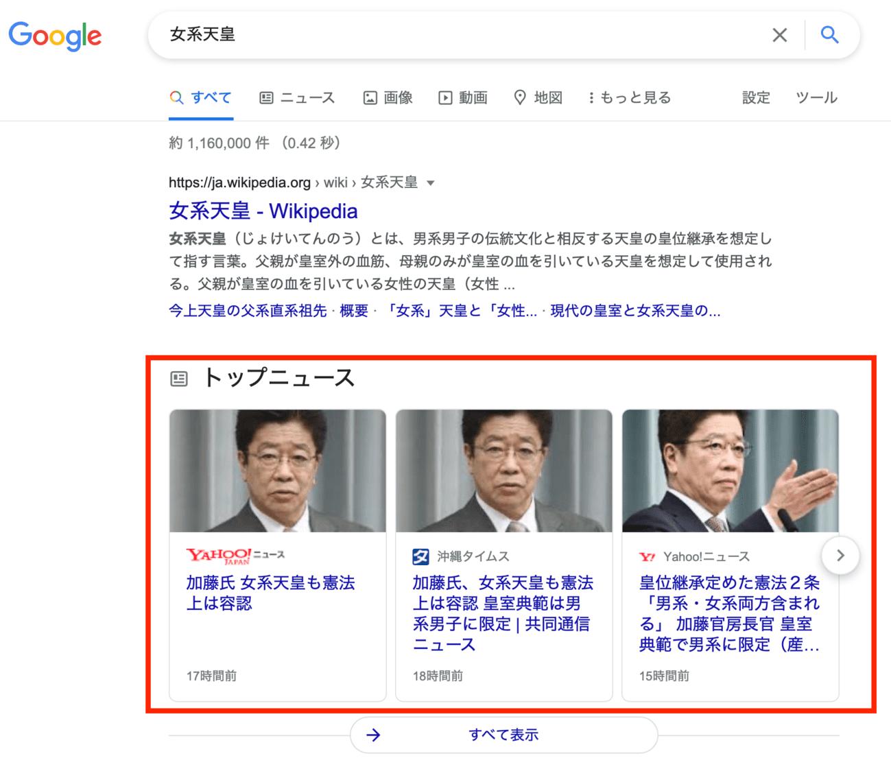 Googleオーガニック検索 トップニュース